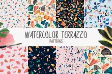 Watercolor Terrazzo Patterns by  in Patterns