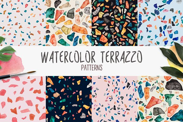 Graphic Patterns - Watercolor Terrazzo Patterns