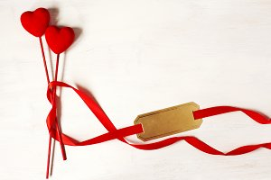 Happy Valentine`s Day with red heart