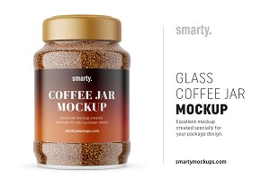 Glass coffee jar mockup