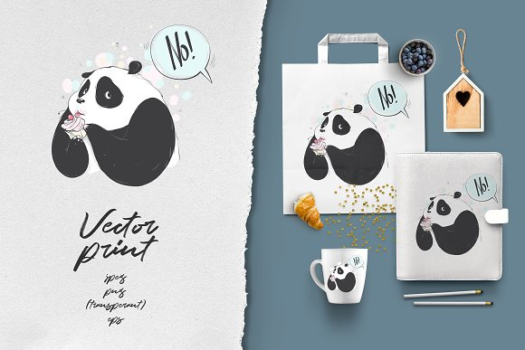 Vector Panda Wants A Cake Graphic Objects Creative Market
