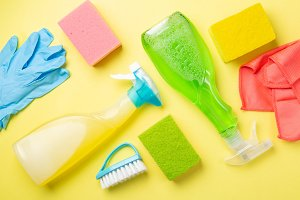 Cleaning concept - cleaning supplies