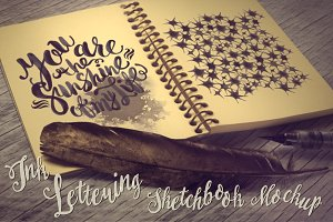 Ink Lettering Sketchbook Mockup