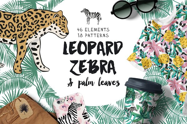 Leopard, zebra & palm leaves