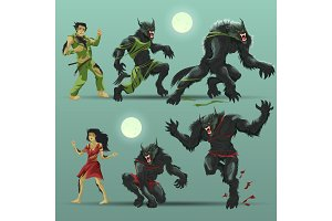 Man and woman werewolf set