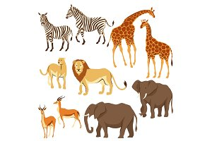 Set of African savanna animals.