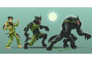 Man transformating werewolf