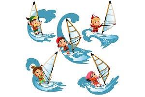 Сhildren sailing on swim waves