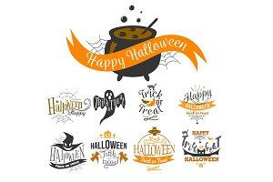 logo set Happy Halloween