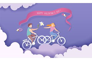 Valentines day card with couple in
