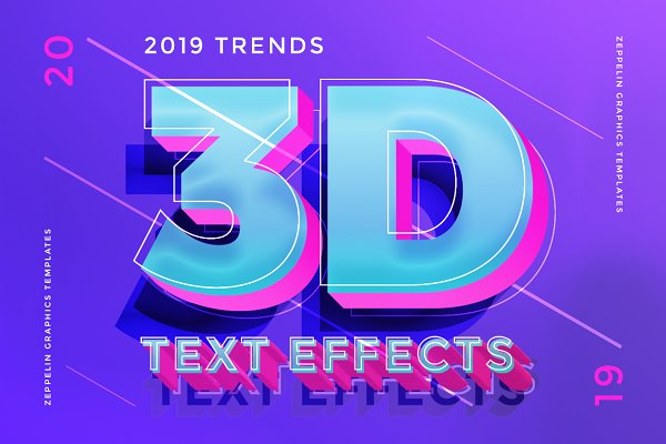 Photoshop Layer Styles: Zeppelin Graphics - 3D Text Effects 2019 Trends
