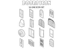 Door icons set in outline style