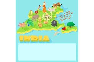 India map, cartoon style