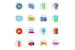 Audio and video icons set, cartoon