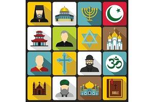 Religious symbol icons set, flat