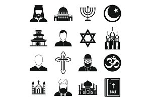 Religious symbol icons set, simple