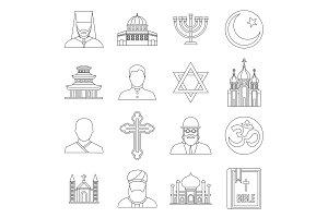 Religious symbol icons set, outline