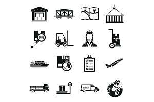 Logistic icons set, simple style