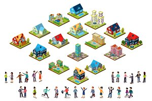 House and people isometric style