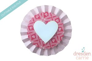 Valentine rosette with heart