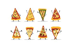 Pizza slices character set, sketch