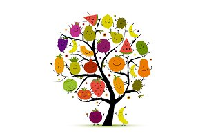 Tree with funny fruits for your