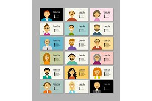 Business cards with people portraits