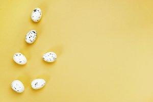 Flat lay of quail eggs