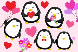 Valentines Penguin Clipart Designs