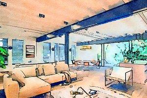 watercolor sketch of home interior