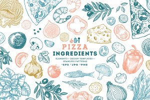 PIZZA ingredients illustrations