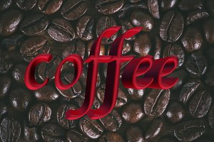 Coffee beans texture with 3d text