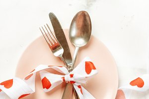 Festive table setting with cutlery