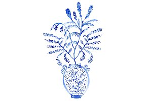 Chinoiserie Vase with Bouquet Spray