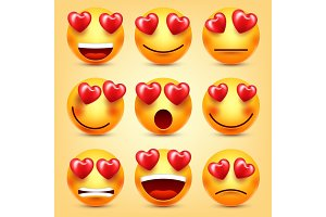 Emoji Smiley With Red Heart Vector