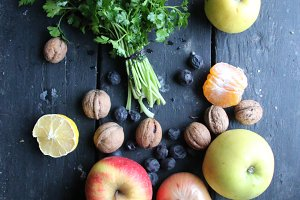 Parsley and fruit on old vintage