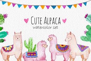 Cute Alpaca. Watercolor clipart set