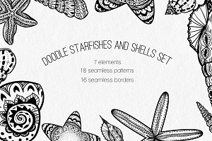 Doodle Starfishes and Shells set