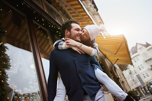 happy enamored couple is standing