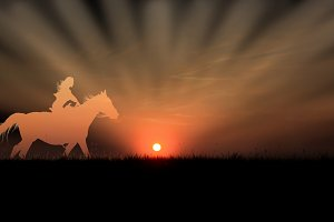 Sunny cowboy riding in rays