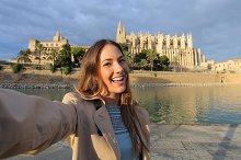 Woman photographing a selfie in Palma de Mallorca Cathedral.jpg