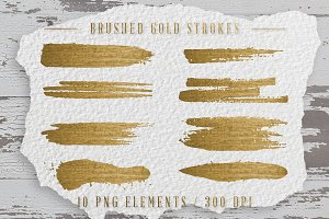 10 Gold Brushed Strokes