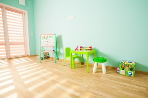 Modern playroom for children in pink