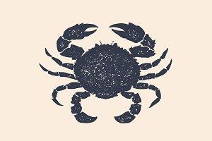 Crab, silhouette. Vintage logo