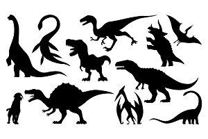 Dinosaur silhouettes set. Vector