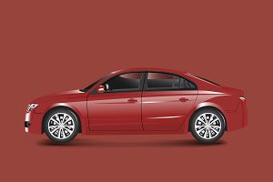 Red sedan car in a red background