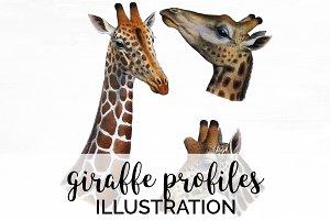Giraffe Profile Vintage Watercolor