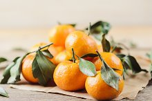 Fresh juicy little tangerines with g by  in Food & Drink