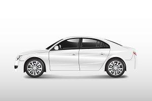 White sedan car isolated on white