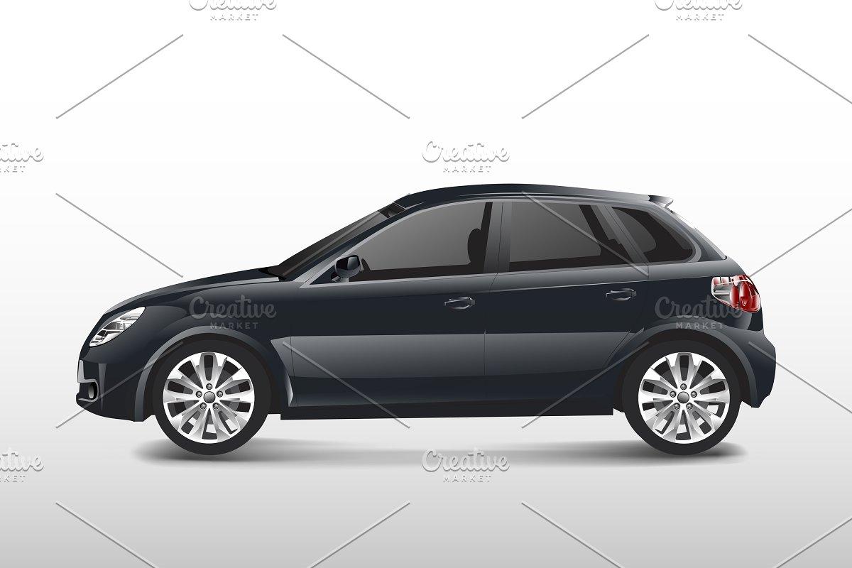 Save black hatchback car isolated white